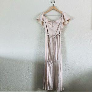 4SI3ENNA Tan and Cream Ruffle Maxi Dress